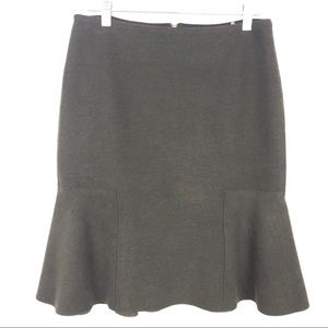 Olive green pencil skirt.
